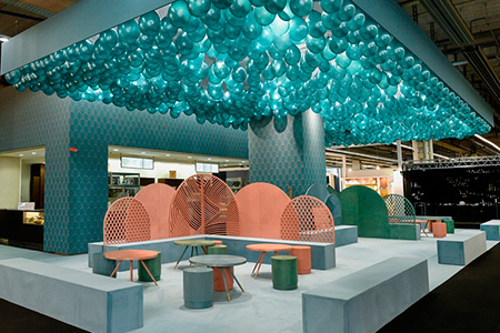 Jade Serenity Cafe diseño interior artesania stand