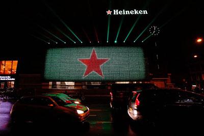 Impresionante pared interactiva de Heineken en Amsterdam