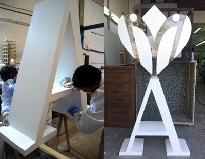 Fabricacion en carpinteria de letra corporea